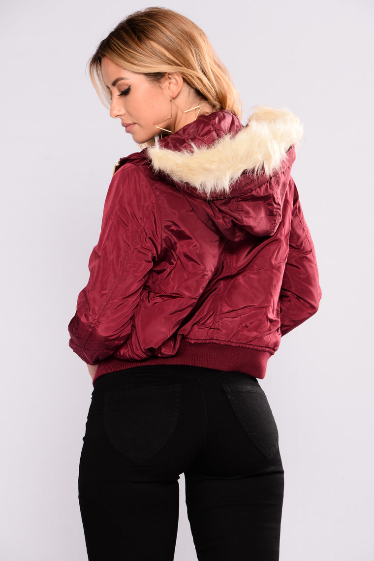 Roselyn Hooded Bomber - Burgundy