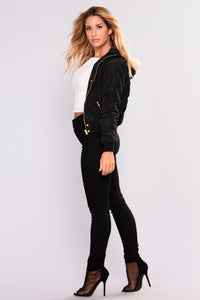 Roselyn Hooded Bomber - Black