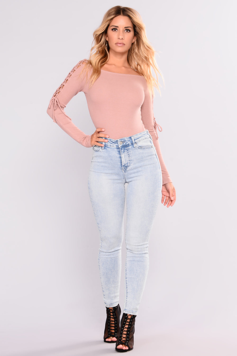 Eva Off Shoulder Lace Up Top - Dusty Pink