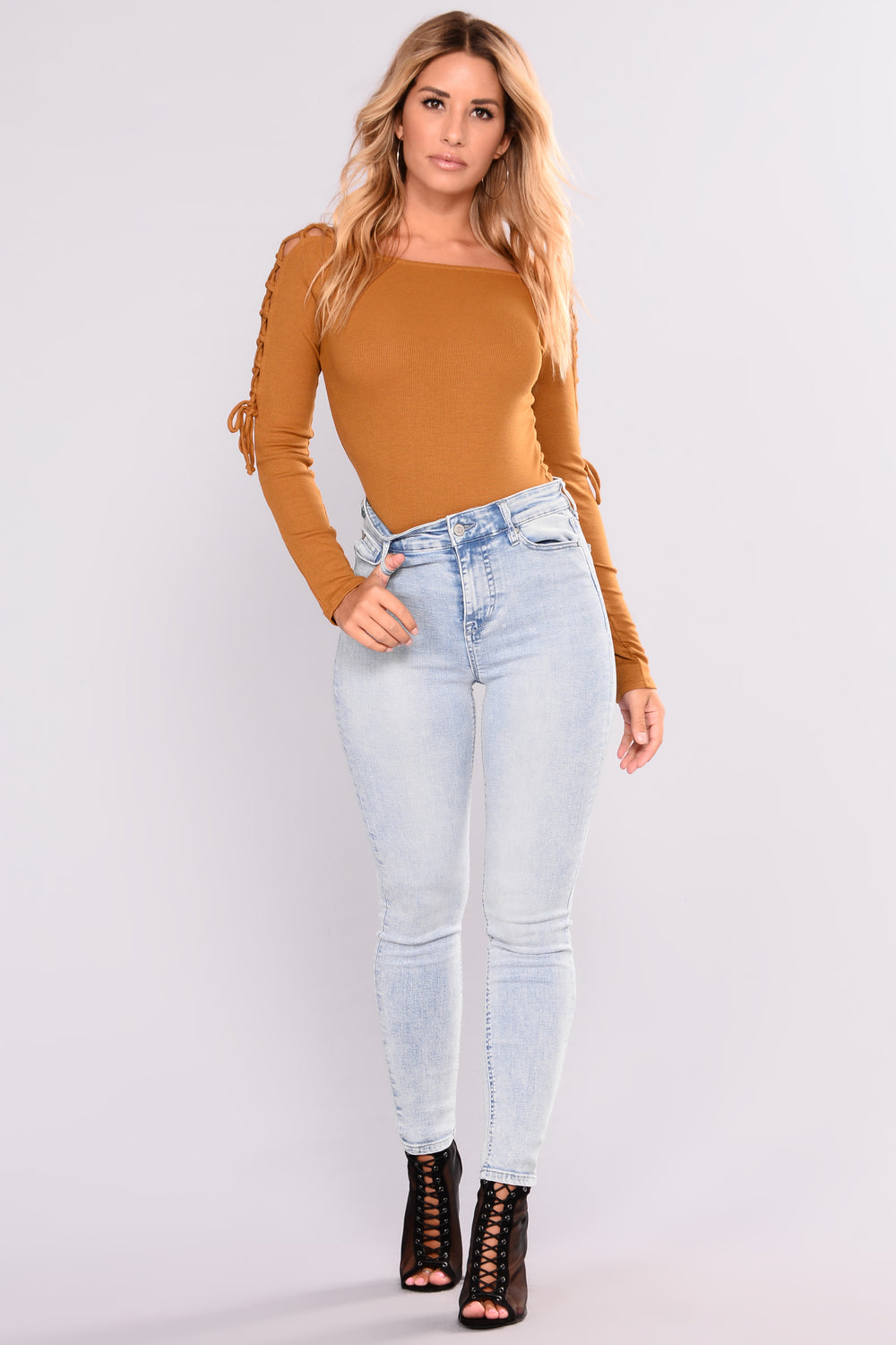 Eva Off Shoulder Lace Up Top - Mustard