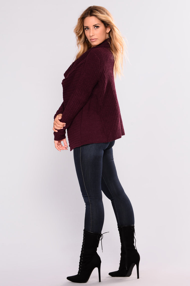 Totally Obsessing Cardigan - Plum