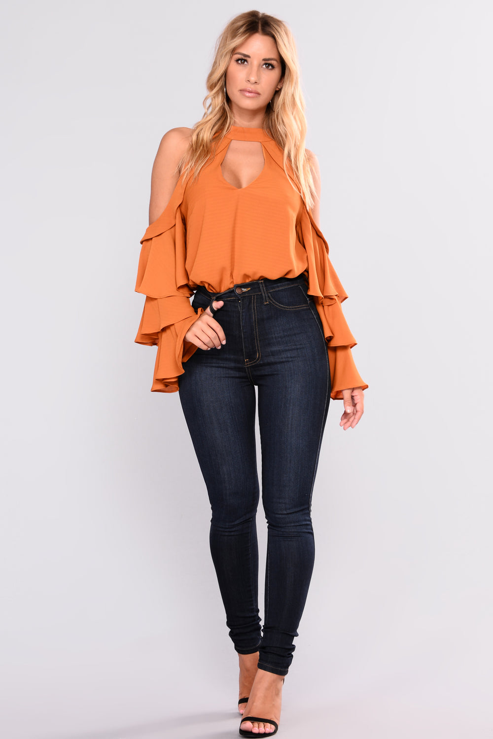 Elba Cold Shoulder Top - Amber