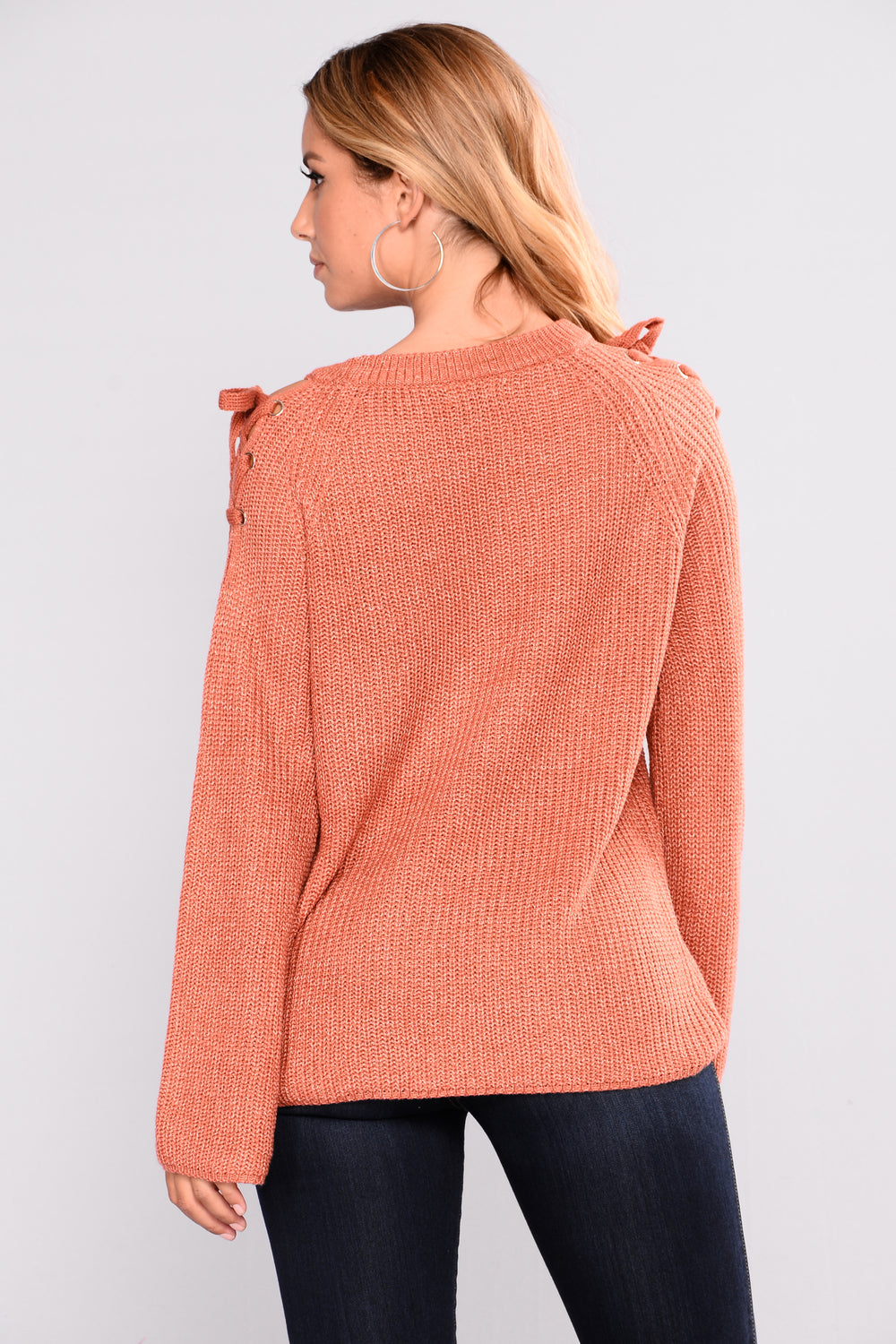 Carina Cold Shoulder Sweater - Rust
