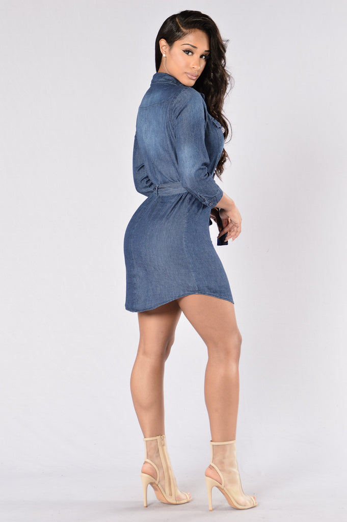 Alone With You Dress - Dark Wash