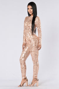 Too Much For You Jumpsuit - Rose Gold
