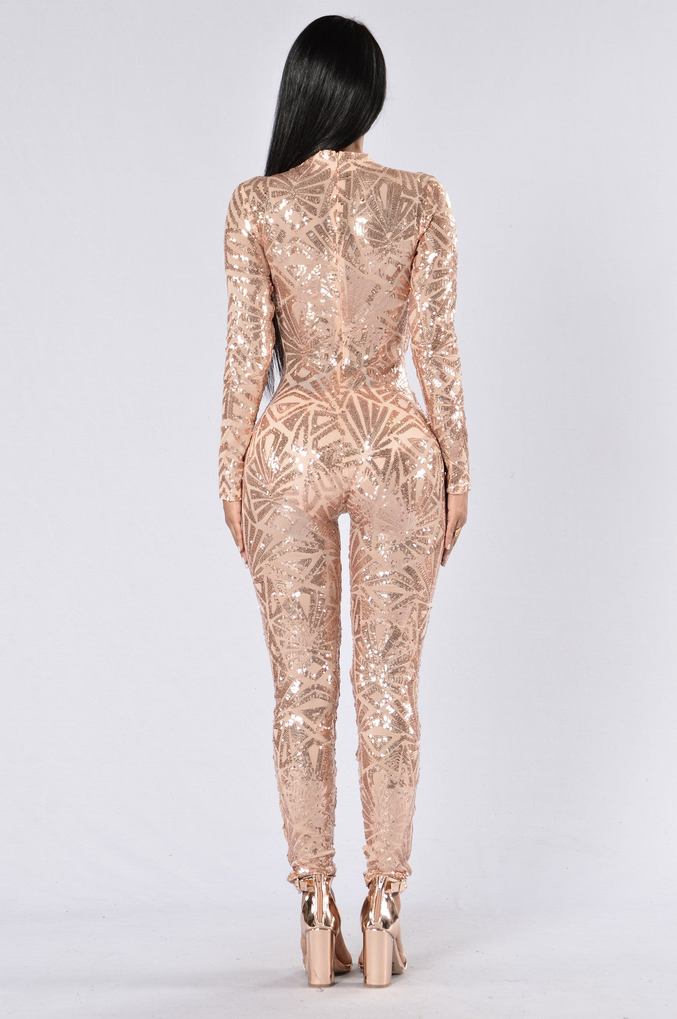 d438eea357 Too Much For You Jumpsuit - Rose Gold