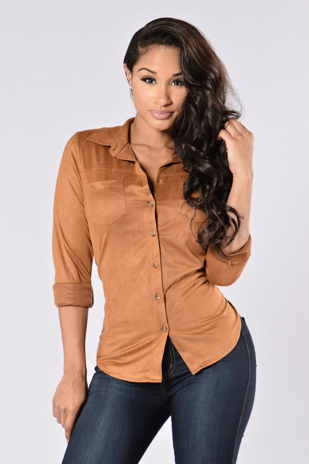 Southern Belle Blouse - Camel