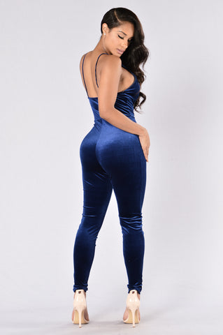 Retro Glam Jumpsuit - Blue