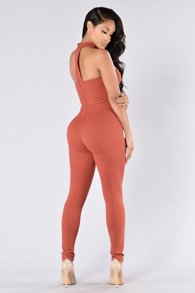 Know Me Now Jumpsuit - Marsala