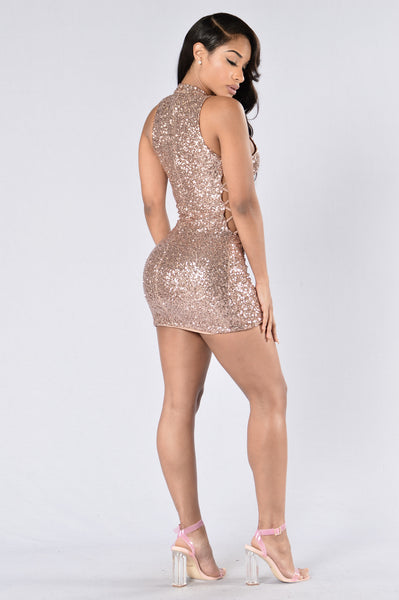 Sprinkle Me With Glitter Dress - Rose Gold