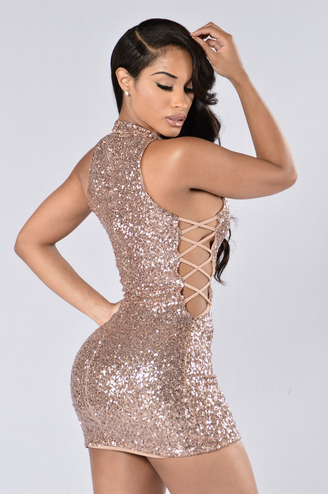 e5185a3d4a77 Sprinkle Me With Glitter Dress - Rose Gold