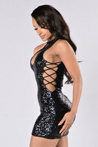Sprinkle Me With Glitter Dress - Black Angle 3
