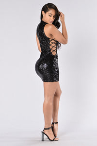 Sprinkle Me With Glitter Dress - Black Angle 5