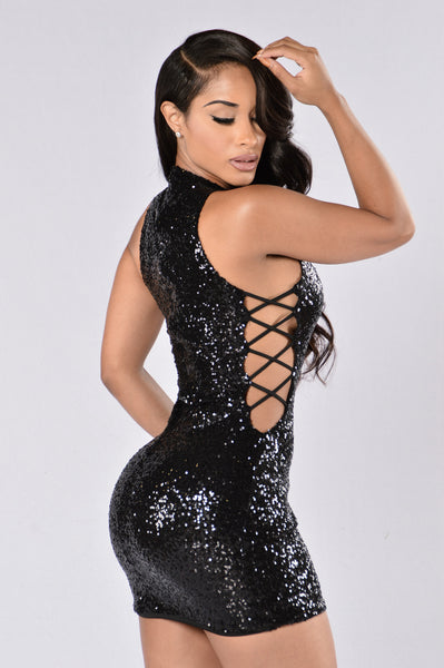 Sprinkle Me With Glitter Dress - Black