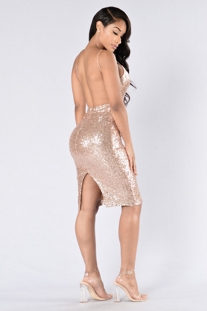 Baby You're A Firework Dress - Rose Gold