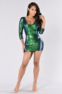 Shooting Stars Dress - Green Angle 1
