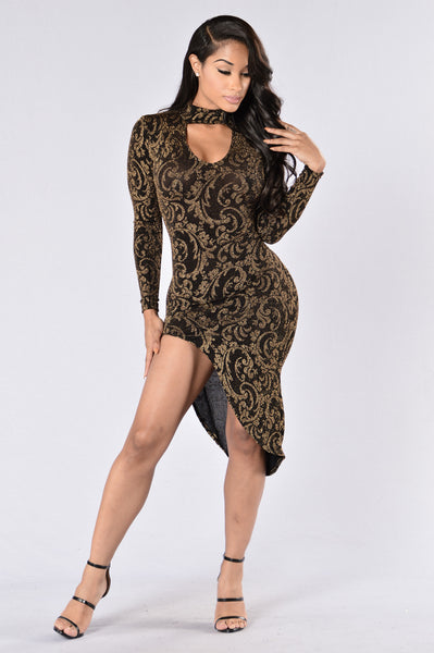 Loving You Easy Dress - Black/Gold