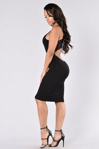 Lace It Up Dress - Black