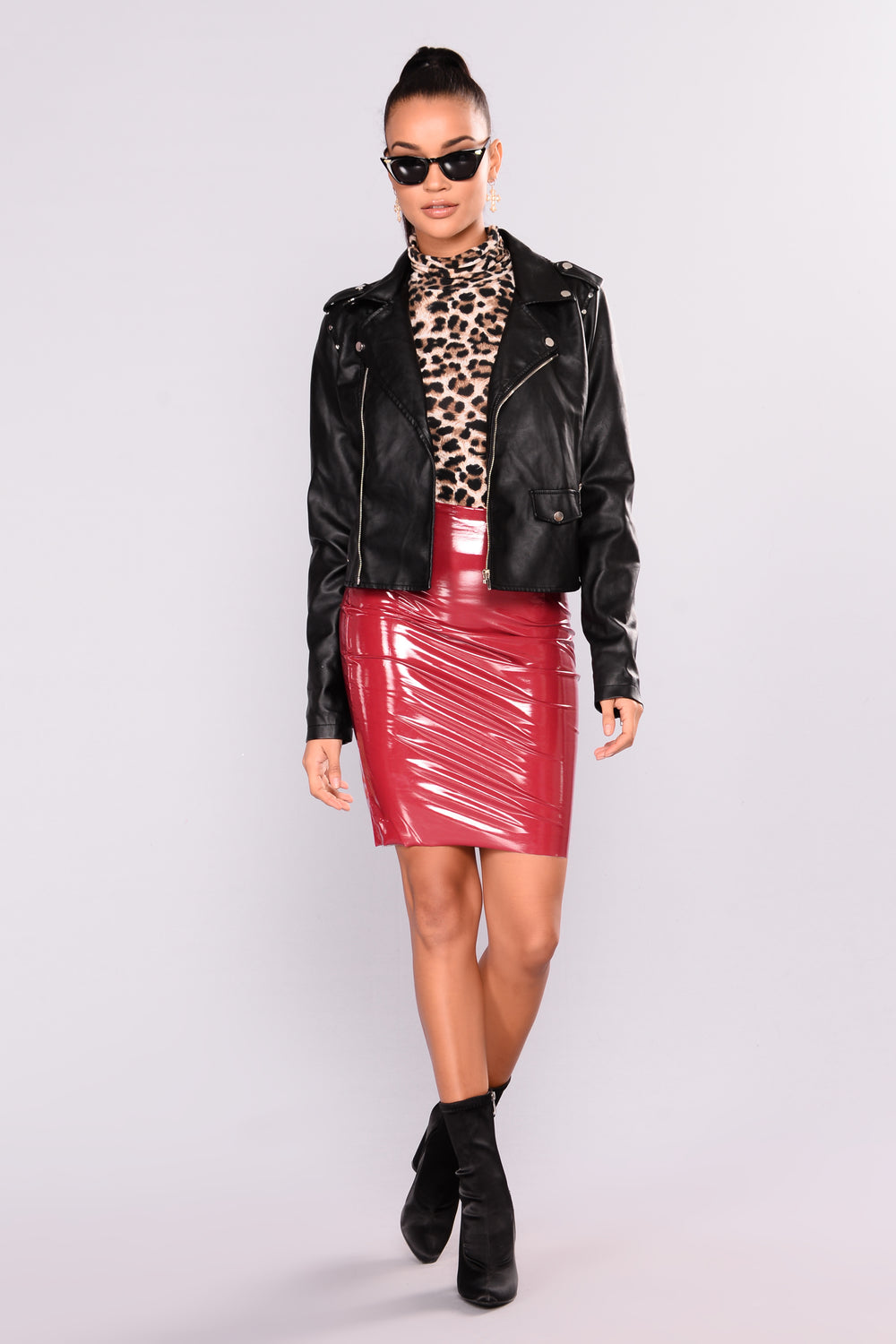 Ziggy Skin Tight Latex Skirt - Wine