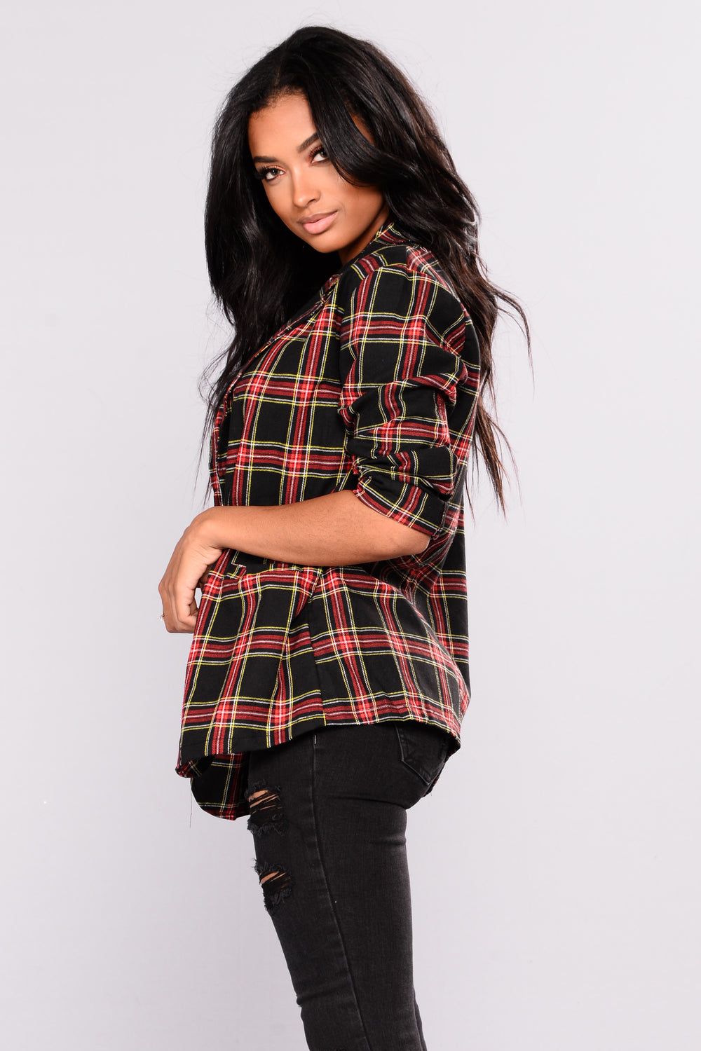 Smart Aleck Plaid Jacket - Black