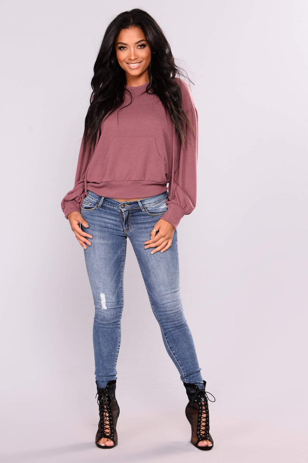 Marina Hooded Sweater - Mauve