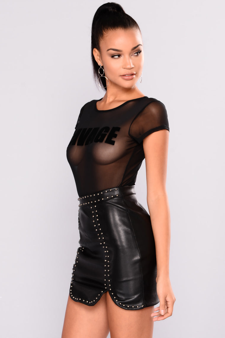 So Savage Mesh Bodysuit - Black