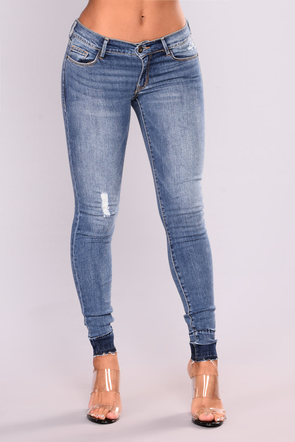 Amie Released Hem Skinny Jeans - Medium Wash