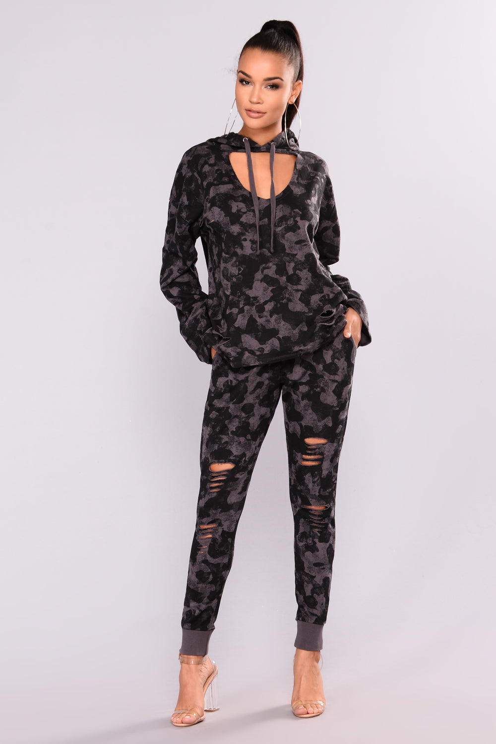 Damage Control Camo Top - Charcoal