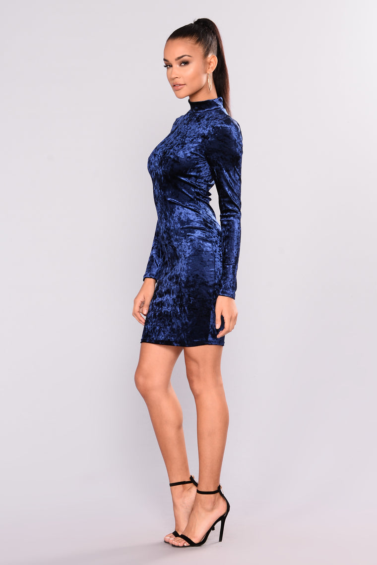 Write A Symphony Velvet Dress - Navy