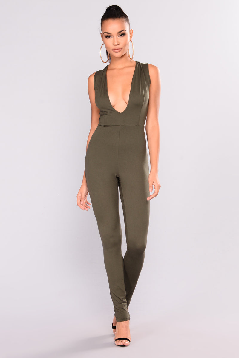Felt So Right Jumpsuit - Olive