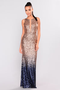 Stars Are Bright Sequin Dress - Rose Gold/Navy