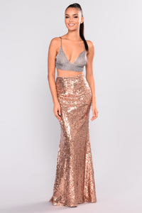 Babe Of The Night Sequin Skirt - Rose Gold