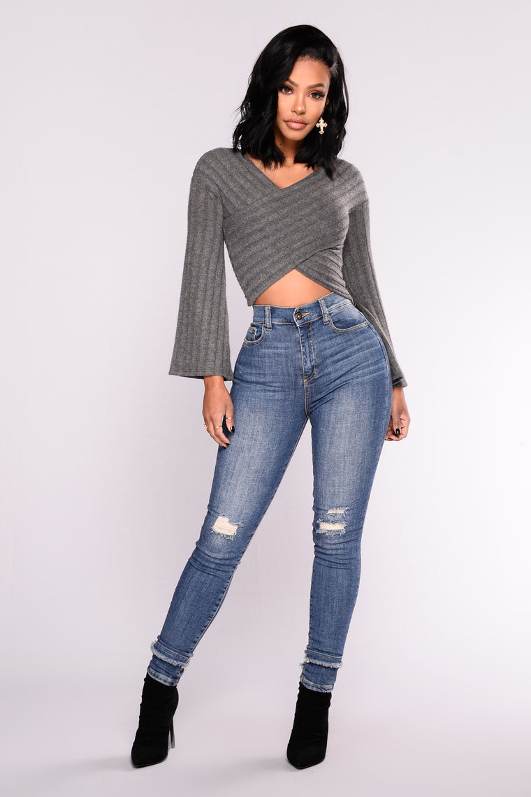 Breana Bell Sleeve Sweater Top - Charcoal