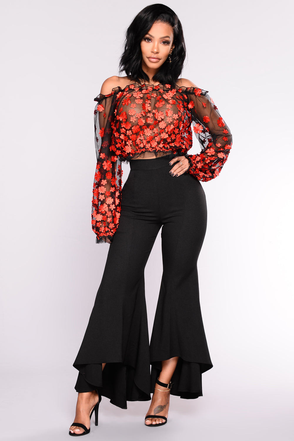 Tessa Off Shoulder Embroidered Mesh Top - Black/Red