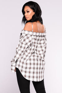 Oh No Doubt About It Plaid Top - White