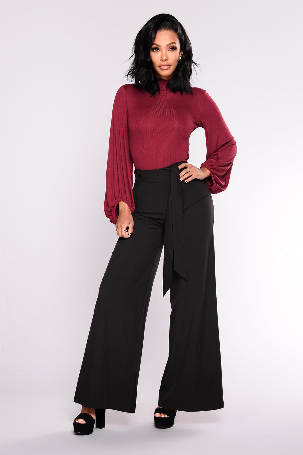 The Ruffle Effect Top - Wine