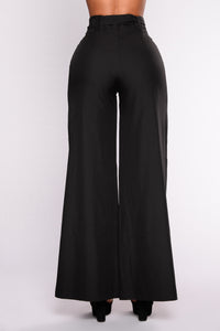 Common Ground Waist Tie Pants - Black