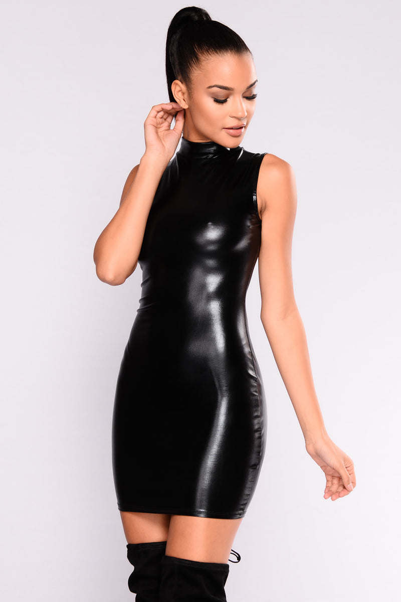Through The Dark Latex Dress - Black