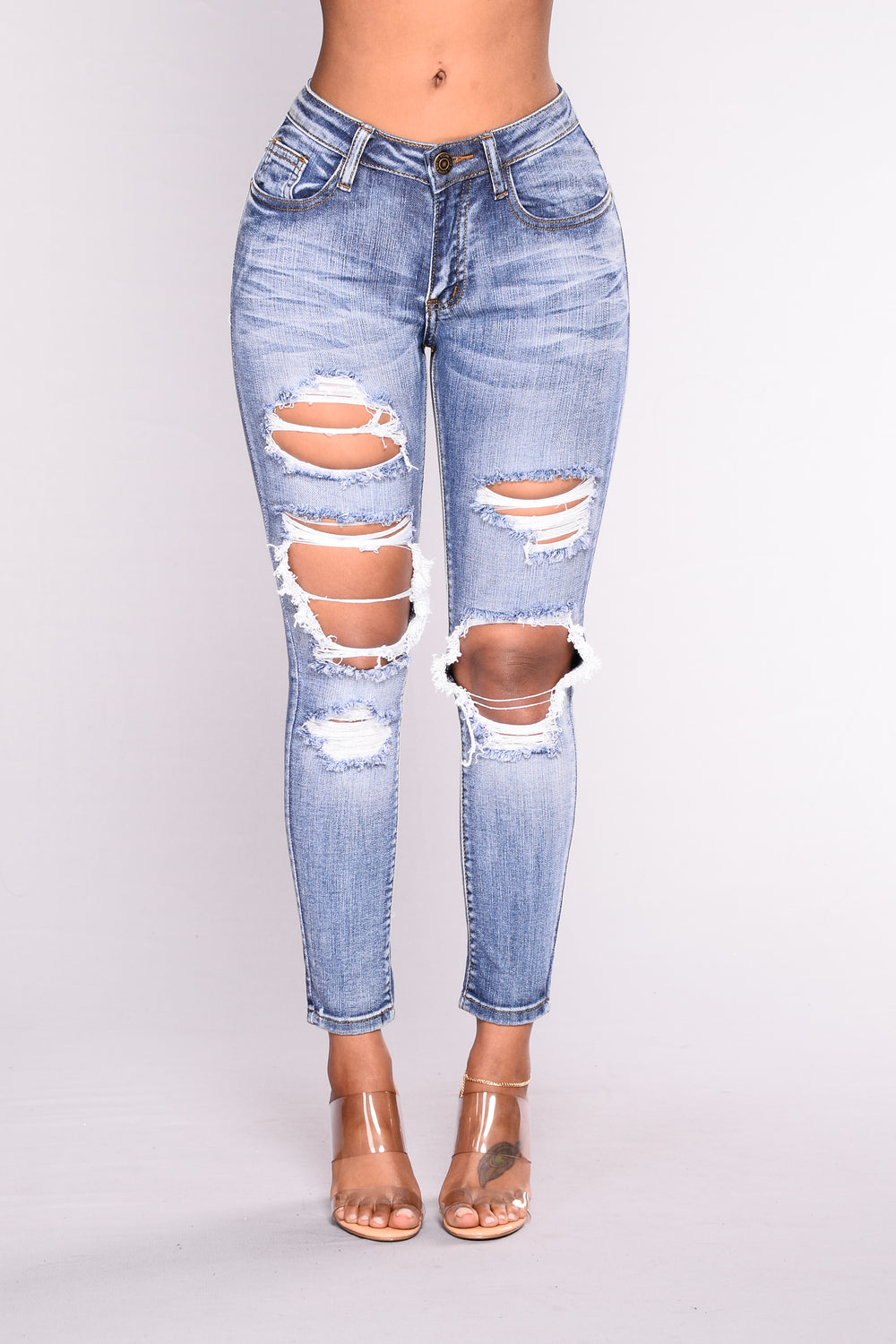 Rise And Shine Skinny Jeans - Medium Blue Wash