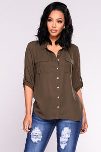 Work Flow Button Down Top - Olive