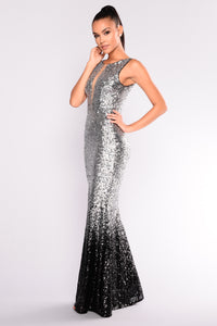 Stars Are Bright Sequin Dress - Silver/Black