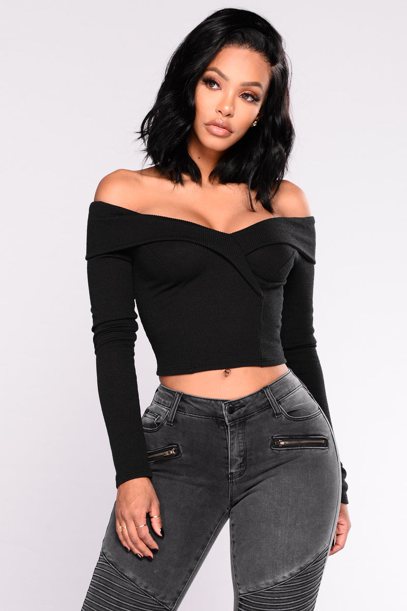Crop Me In Off Shoulder Top - Black