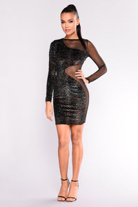 Grant Side Mesh Dress - Black