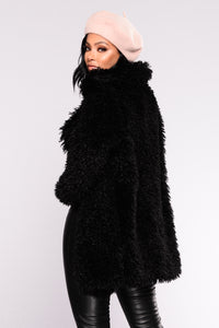 Snow Bunny Fuzzy Coat - Black