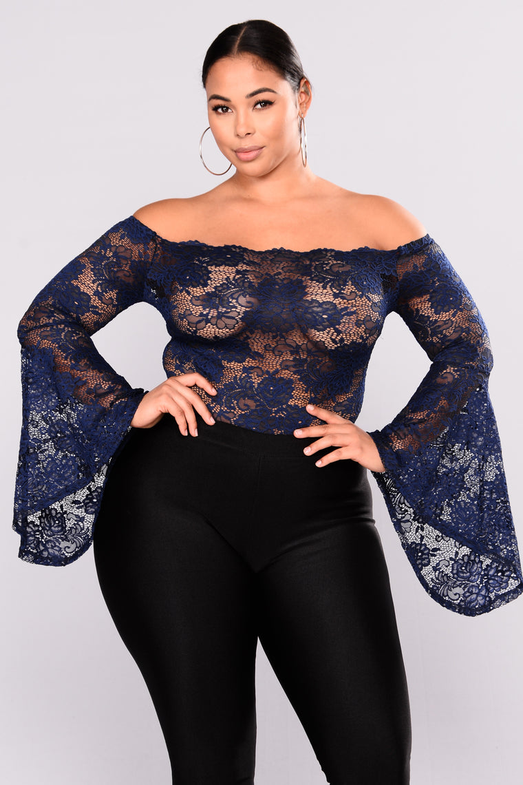 Misty Majesty Lace Bodysuit - Navy