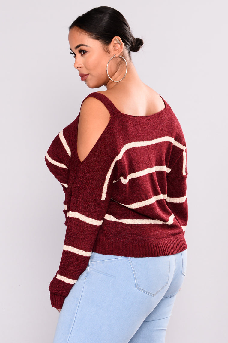 Kandee Cold Shoulder Sweater - Burgundy