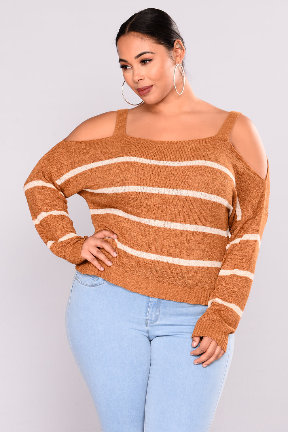 Kandee Cold Shoulder Sweater - Mustard