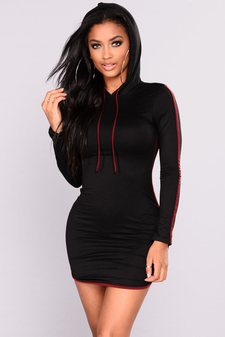 Kick It With You Hooded Tunic - Black/Burgundy
