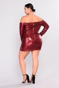 Are You Sequin Serious Dress - Burgundy