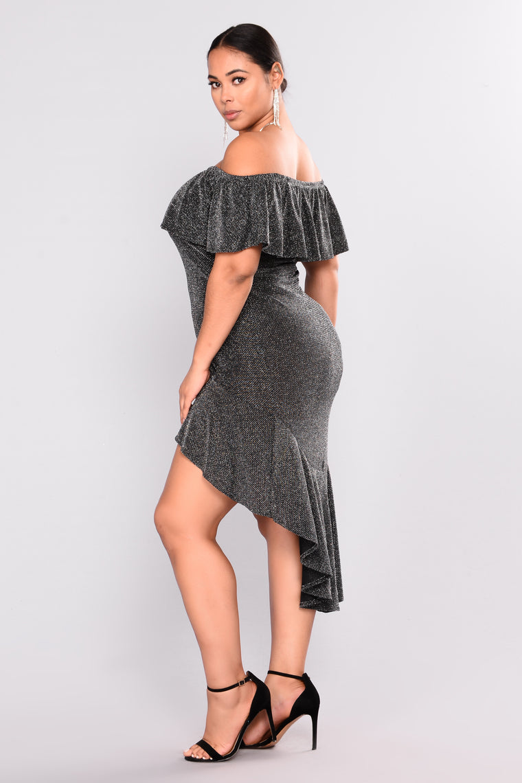 Super Shine Midi Dress - Black/Silver